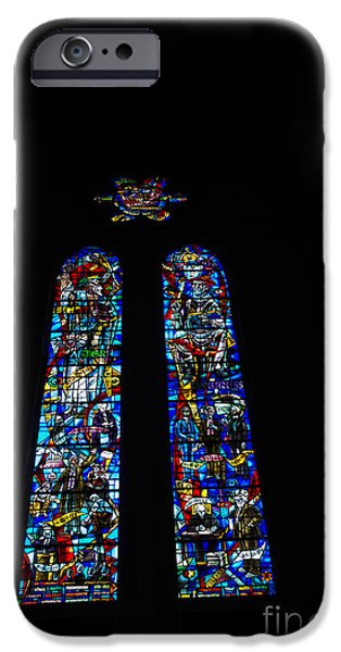 Philosophy iPhone Cases - Stained Glass at Grace Cathedral iPhone Case by David Bearden