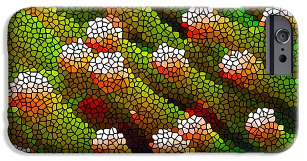 Alga Paintings iPhone Cases - Stained Glass Coral Reef 1 iPhone Case by Lanjee Chee