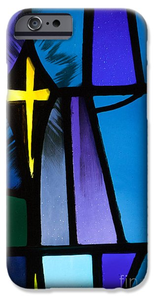 Stained Glass Cross iPhone Case by Karen Lee Ensley