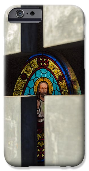 Cemetary iPhone Cases - Stained Glass in a Tomb iPhone Case by Jess Kraft
