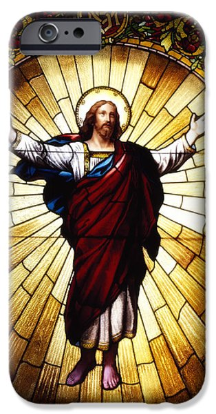 Stained Glass Glass Art iPhone Cases - Stained Glass Jesus iPhone Case by Mountain Dreams