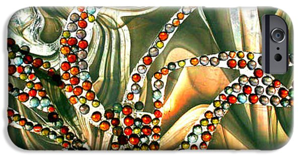 Sunset Glass Art iPhone Cases - Stained Glass Tree at Sunset iPhone Case by Rebecca Tkaczyk