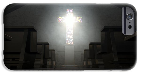 Stained Glass Windows iPhone Cases - Stained Glass Window Crucifix Church iPhone Case by Allan Swart