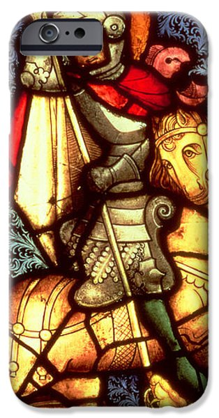 Stained Glass Glass Art iPhone Cases - Stained Glass Window Depicting Saint George iPhone Case by German School