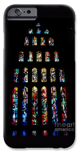 Stained Glass Windows at Basilica of the Annunciation iPhone Case by Eva Kaufman