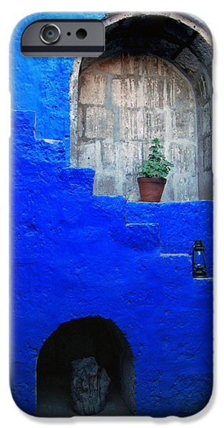 Saint Catherine iPhone Cases - Staircase in blue courtyard iPhone Case by RicardMN Photography