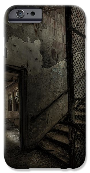 Ghost Story iPhone Cases - Stairs And Corridor Inside An Abandoned Asylum iPhone Case by Gary Heller