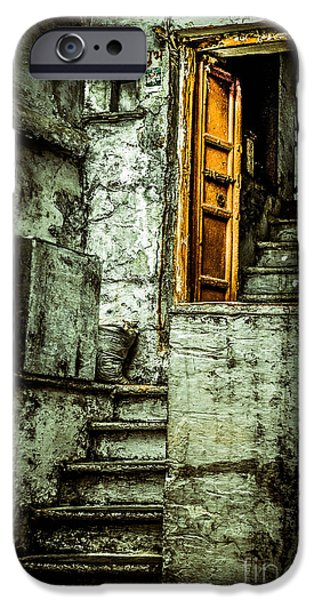 Wooden Stairs iPhone Cases - Stairs leading to the old door iPhone Case by Catherine Arnas