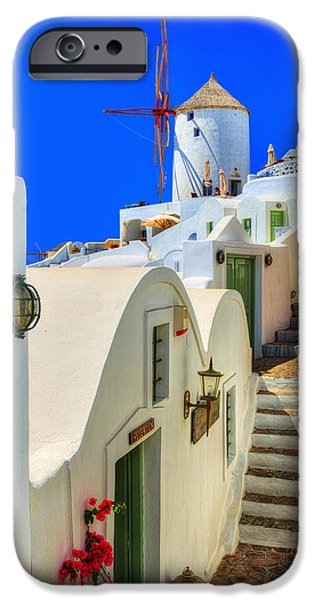 Greece iPhone Cases - Stairs to Windmill iPhone Case by Midori Chan