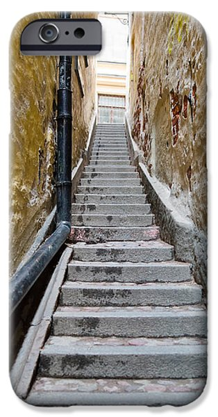 Alley iPhone Cases - Stairway Along Walls, Gamla Stan iPhone Case by Panoramic Images