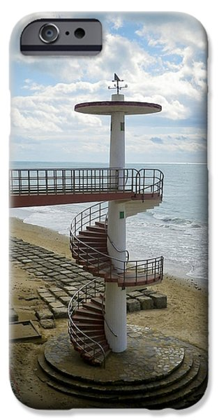 Luz iPhone Cases - Stairway Cadiz Beach iPhone Case by Greetje Kamps