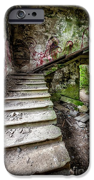 Dirty Digital iPhone Cases - Stairway Graffiti iPhone Case by Adrian Evans