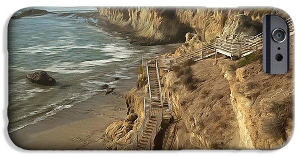 Nature Scene iPhone Cases - Stairway To Pismo Beach iPhone Case by Barbara Snyder