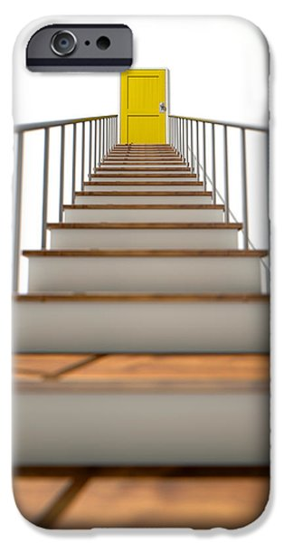 Staircase iPhone Cases - Stairway To Yellow Door iPhone Case by Allan Swart