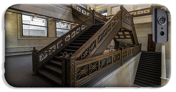 Mosaic iPhone Cases - Stairwell Chicago Cultural Center iPhone Case by Steve Gadomski