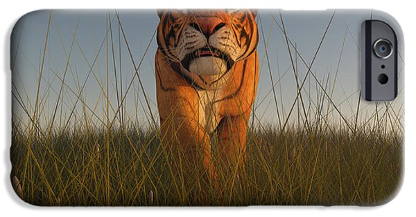 The Tiger Hunt iPhone Cases - Stalking Tiger iPhone Case by Liam Liberty