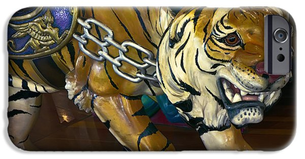 The Tiger iPhone Cases - STALKING TIGER of LOOFF CAROUSEL  1909 iPhone Case by Daniel Hagerman