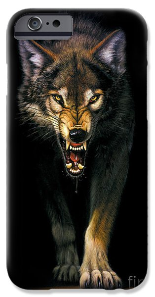 Animal Portraits iPhone Cases - Stalking Wolf iPhone Case by MGL Studio - Chris Hiett