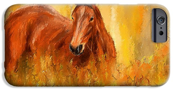 Abstract On Canvas Paintings iPhone Cases - Stallion in Autumn - Bay Horse Paintings iPhone Case by Lourry Legarde