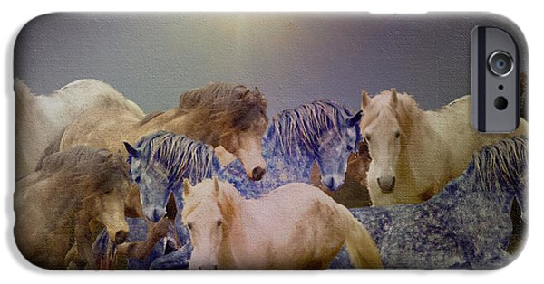 Paso Fino Stallion iPhone Cases - Stallions On Stage As Vivaldis Spring Plays iPhone Case by Patricia Keller