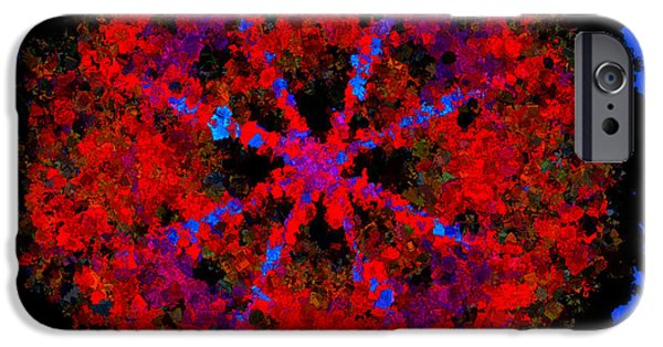 Kaleidoscopic Paintings iPhone Cases - Stamped Fractal iPhone Case by Bruce Nutting