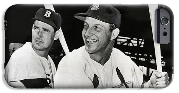 Williams Ted iPhone Cases - STAN MUSIAL and TED WILLIAMS iPhone Case by Daniel Hagerman