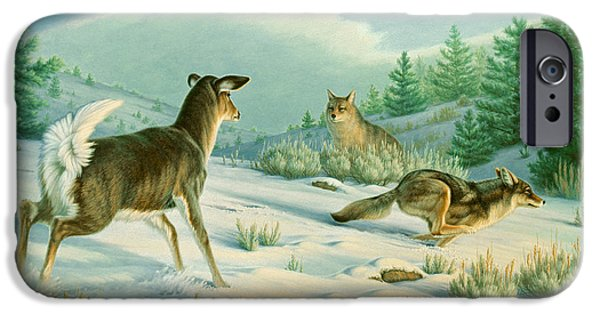 Coyote iPhone Cases - Stand-off  -Whitetail doe and Coyotes iPhone Case by Paul Krapf