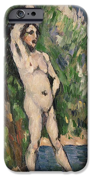 Muscle Paintings iPhone Cases - Standing Nude iPhone Case by Paul Cezanne
