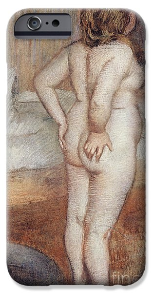 Feminine Pastels iPhone Cases - Standing Nude iPhone Case by Edgar Degas