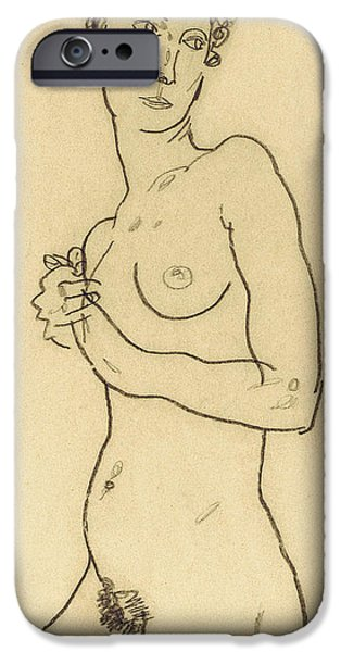 Feminine Drawings iPhone Cases - Standing nude iPhone Case by Egon Schiele