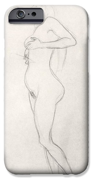 Beautiful Drawings iPhone Cases - Standing Nude Girl Looking Up iPhone Case by Gustav Klimt