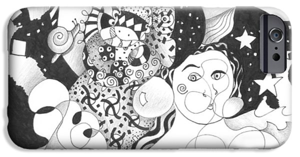Inner World Drawings iPhone Cases - Standing On Solid Ground iPhone Case by Helena Tiainen