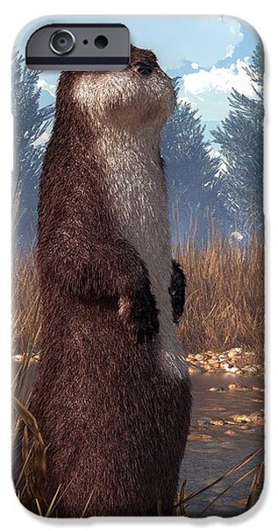 Otter Digital Art iPhone Cases - Standing Otter iPhone Case by Daniel Eskridge