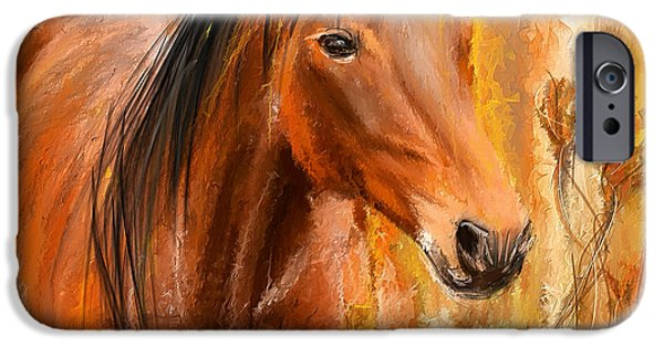 Abstract On Canvas Paintings iPhone Cases - Standing Regally- Bay Horse Paintings iPhone Case by Lourry Legarde