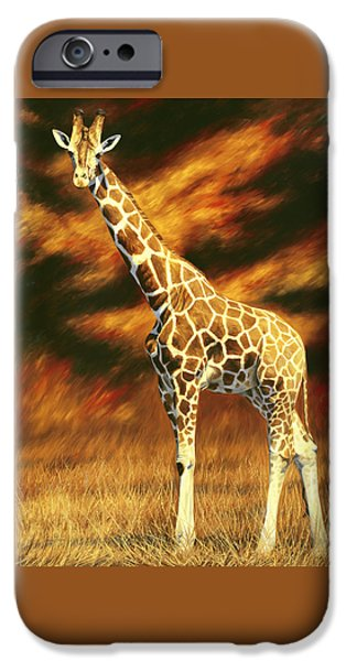 Giraffes iPhone Cases - Standing Tall iPhone Case by Lucie Bilodeau
