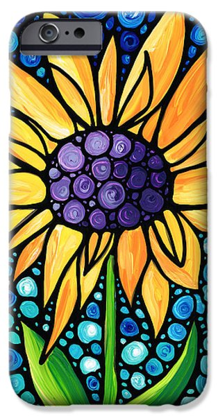 Whimsy Paintings iPhone Cases - Standing Tall - Sunflower Art By Sharon Cummings iPhone Case by Sharon Cummings