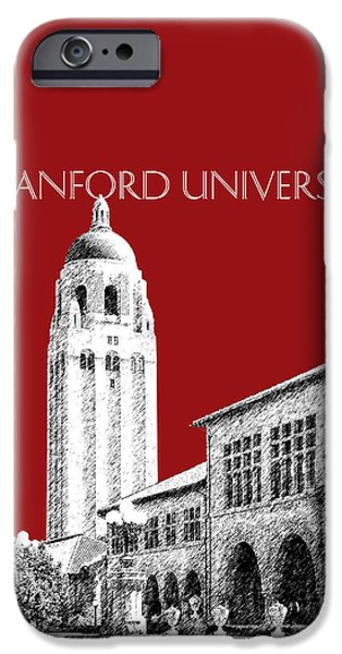 Pen And Ink Digital Art iPhone Cases - Stanford University - Dark Red iPhone Case by DB Artist