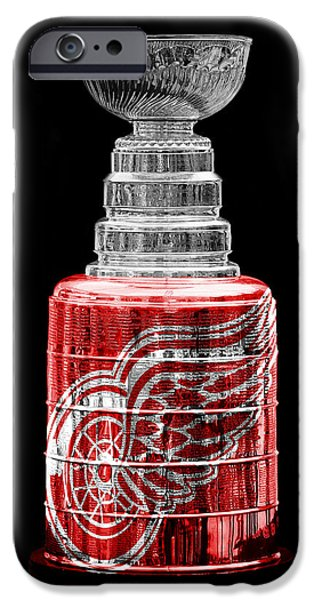 Red Wings iPhone Cases - Stanley Cup 5 iPhone Case by Andrew Fare