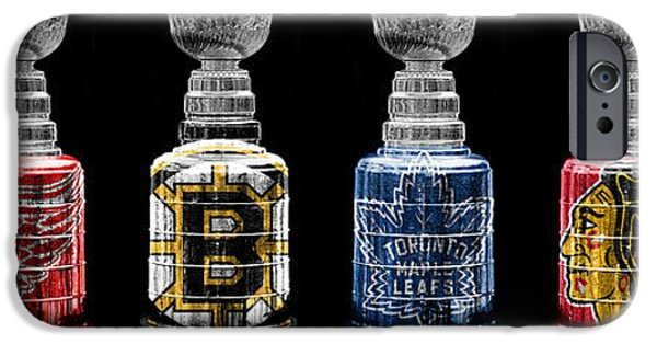 Hockey Photographs iPhone Cases - Stanley Cup Original Six iPhone Case by Andrew Fare