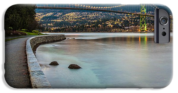 Burrard Inlet iPhone Cases - Stanley Park Seawall View iPhone Case by James Wheeler