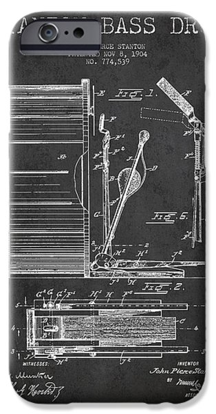 Drummer iPhone Cases - Stanton Bass Drum Patent Drawing from 1904 - Dark iPhone Case by Aged Pixel