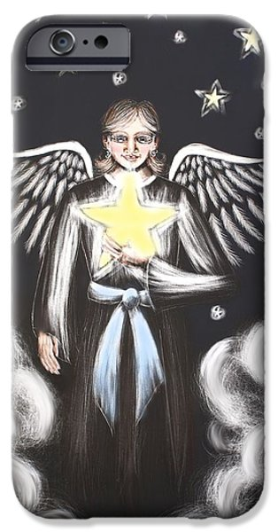 Night Angel Mixed Media iPhone Cases - Star Angel iPhone Case by Christi Kuhner