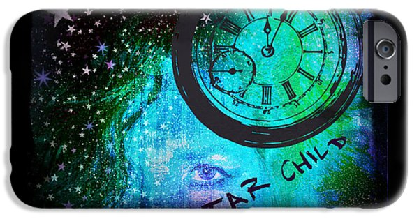Night Angel iPhone Cases - Star Child - Time To Go Home iPhone Case by Absinthe Art By Michelle LeAnn Scott