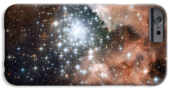Astronomy iPhone Cases - Star Cluster and Nebula iPhone Case by Sebastian Musial