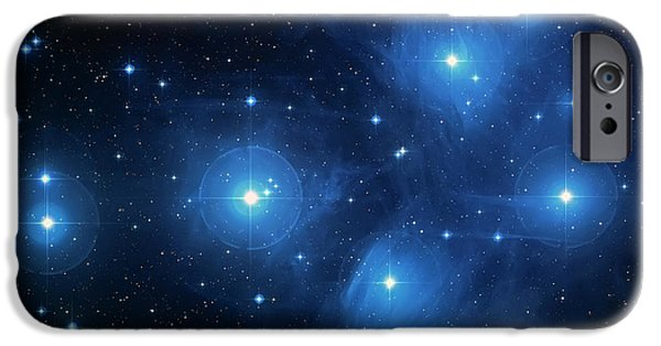 Constellations iPhone Cases - Star Cluster Pleiades Seven Sisters iPhone Case by The  Vault - Jennifer Rondinelli Reilly