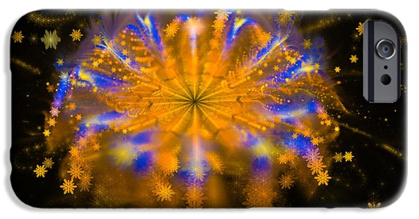 Fireworks iPhone Cases - Star explosion fractal firework orange golden blue iPhone Case by Matthias Hauser