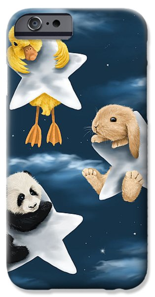 Digital Paintings iPhone Cases - Star games iPhone Case by Veronica Minozzi