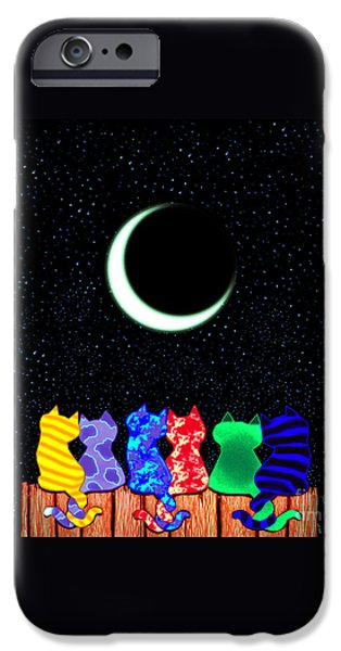 Cat Drawings iPhone Cases - Star Gazers iPhone Case by Nick Gustafson