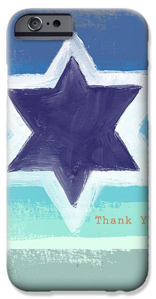 Painted Mixed Media iPhone Cases - Star of David in Blue - Thank You Card iPhone Case by Linda Woods