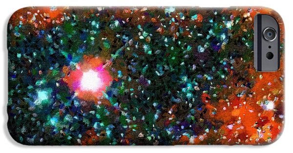 Outer Space Paintings iPhone Cases - Star shining in a cosmos iPhone Case by Magomed Magomedagaev